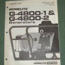 Homelite Generators, Parts List, Part No. 17376, Models G-4800-1 & -2