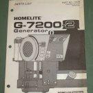 Homelite Generators, Parts List, Part No. 17379, Models G-7200-2 Illustrated