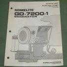 Homelite Generators, Parts List, Part No. 17381, Models GD-7200-1 Illustrated