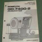 Homelite Generators, Parts List, Part No. 17383, Models GD-7400-2 Illustrated