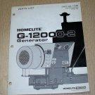 Homelite Generators, Parts List, Part No. 17380, Models G-12000-2 Illustrated
