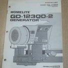 Homelite Generators, Parts List, Part No. 17384, Models GD-12300-2 Illustrated