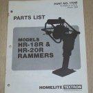 Homelite Rammers Models HR-18R & HR-20R, Parts List, Part No. 17046