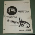 Homelite 240 HG & SL Vibration Isolated Chain Saws Parts List Manual Part 17601