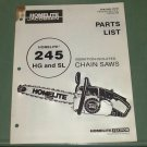 Homelite 245 HG & SL Vibration Isolated Chain Saws Parts List Manual Part 17773