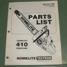 Homelite 410 Chain Saw Parts List, Part No. 17598 Illustrated