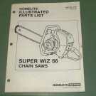 Homelite Parts List Super Wiz 66 Chain Saw Part No. 17430 Illustrated