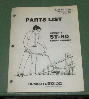 Homelite Parts List ST-80 String Trimmer Part No. 17503
