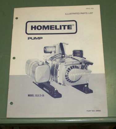 Homelite Parts List, Pump, Model XLS 2-1A Part No. 24842 Illustrated