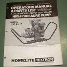 Homelite Parts List Operators Manual 4 cycle engine High Pressure Pump 24555-1B