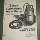"Homelite Parts List, Submersible Water Pump, 3"" inch, Part No. 17358, SP300-1B"