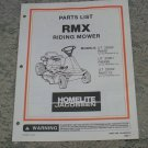 Homelite Jacobsen Parts List RMX Riding Mower Models UT & RMX used