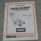 "Homelite Jacobsen Parts List Jake - Rabbit ""20"" Rotary Mower Models UT30051, 50"
