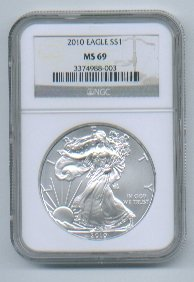 2010 American Silver Eagle NGC MS69 Brown/Gold  Label Wholesale Priced
