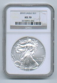 2010 American Silver Eagle NGC MS70 Brown/Gold Label Wholesale Priced