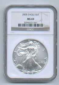 2005 American Silver Eagle NGC MS69 Brown/Gold Label Wholesale Priced