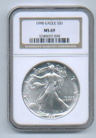 1990 American Silver Eagle NGC MS69 Brown/Gold Label Wholesale Priced