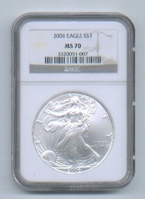 2006 American Silver Eagle NGC MS70 Brown / Gold Wholesale Priced
