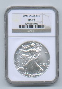 2004 American Silver Eagle NGC MS70 Brown / Gold Wholesale Priced