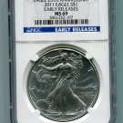 2011 American Silver Eagle NGC MS69 Early Release Label Wholesale Priced