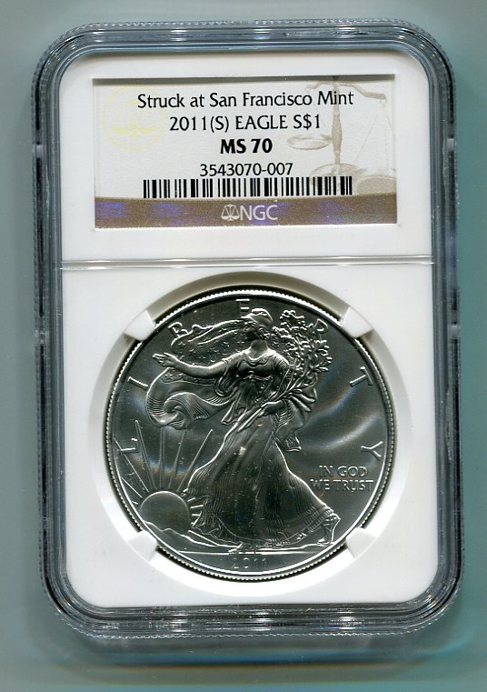 2011(S) American Silver Eagle NGC MS70 San Francisco Mint Label Brown/Gold Wholesale Priced
