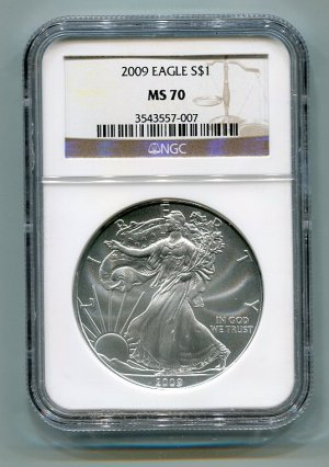 2009 American Silver Eagle NGC MS70 Brown / Gold Wholesale Priced