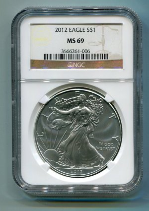 2012 American Silver Eagle NGC MS69 Brown/Gold  Label Wholesale Priced
