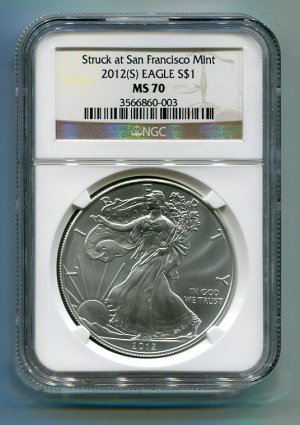 2012(S) American Silver Eagle NGC MS70 San Francisco Mint Label Brown/Gold Wholesale Priced