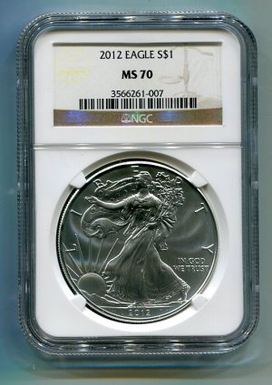 2012 American Silver Eagle NGC MS70 Brown/Gold Label Wholesale Priced
