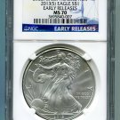 2013(S) Silver Eagle NGC MS 70 Early Release Struck at San Francisco Mint Label Wholesale Priced
