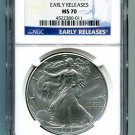 2017 AMERICAN SILVER EAGLE NGC MS 70 CLASSIC EARLY RELEASE BLUE LABEL