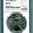 2018 American Silver Eagle NGC MS 70 New Brown Label Wholesale Priced