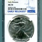 2018 AMERICAN SILVER EAGLE NGC MS 70 NEW EARLY RELEASES BLUE LABEL