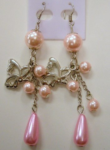Butterfly dangle pink pearl earrings