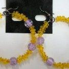 Glass beaded yellow citrine tone hoop earrings