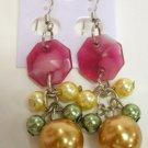 Pearl beaded dangle earrings