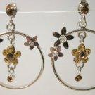 Yellow citrine tone cz rhinestone flower hoop earrings