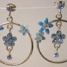 Blue Aquamarine cz flower earrings hoop
