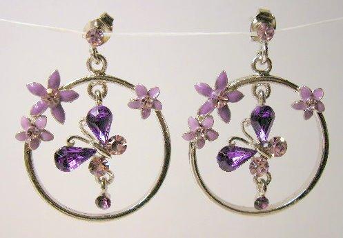 Amethyst tone butterfly silver  hoop earrings