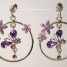 Amethyst tone butterfly silver  hoop earrings