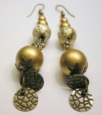Brass bead with gold pearl beaded dangle earrings