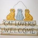 Cat lover's welcome - handmade wood craft