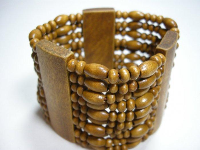 Wooden stretch wide bracelet