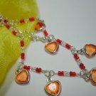 orange heart charm anklet adjustable