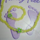 Yellow beaded anklet with matching toe ring - Handmade