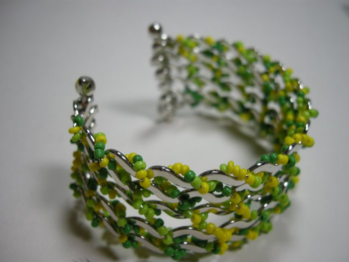 Green yellow glass seed  beaded multi layer cuff bracelet