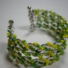 Green yellow glass seed  beaded multi layer cuff bracelet
