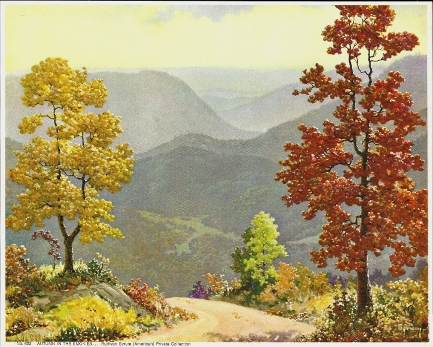 Vintage Print Autumn In The Smokies, Byrum 8x10