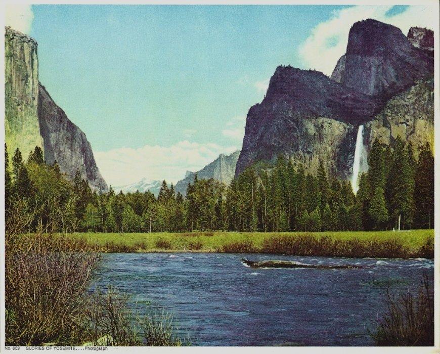 Vintage Print Glories Of Yosemite 8x10 National Park