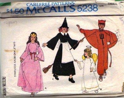 McCalls 5238 Childs Witch Devil Princess Angel Sewing Pattern Sz 2, 4
